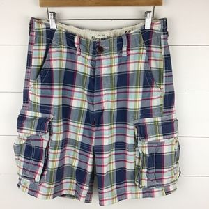 Abercrombie & Fitch 30 Plaid Heavy Cargo Shorts